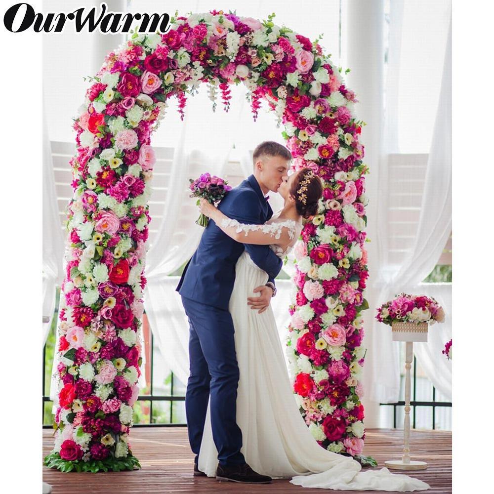 OurWarm Metal Wedding Arch Stand Backdrop Pergola Garden Decor Flower With Frame Marriage Birthday Wedding Party