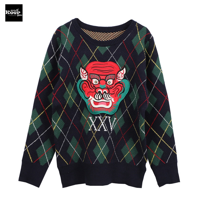 2018 New Fashion Sweater Female Pullovers Plaid Vintage Winter Loose Fall Knitted Sweaters Pullover Runway Designer Tops Jumper