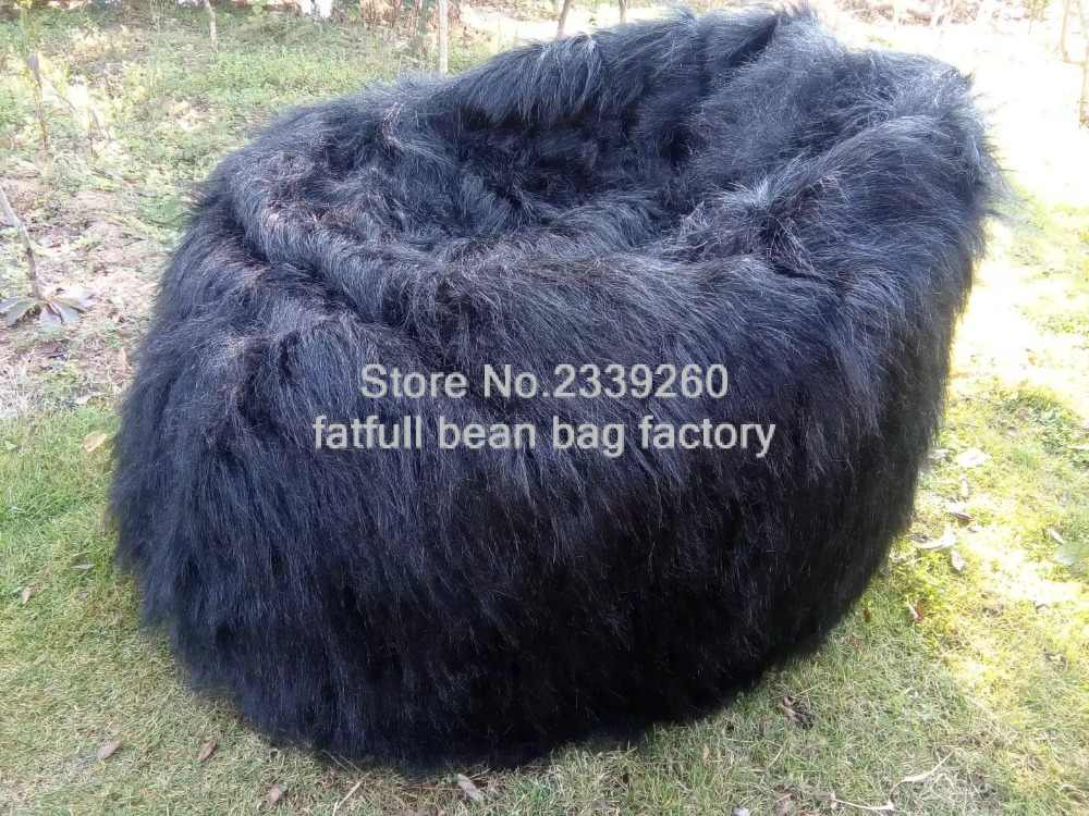 Admirable Long Large Faux Fur Beanbag Bean Bag Cover Shaggy Fur Andrewgaddart Wooden Chair Designs For Living Room Andrewgaddartcom