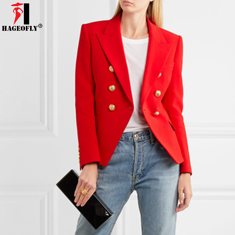HAGEOFLY Autumn Winter Blazers Women Office Jacket Red Coat Casual Women Work Double Breasted ...