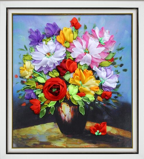 Wstążka Hafty Romantyczne Kwiaty Kwiatowe Obrazy 3d Zestawy Do Haftu