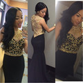 New Sexy Long Prom Dresses 2017 O-neck Sleeveless Side Front Floor Length Mermaid Golden Beads Party Dresses