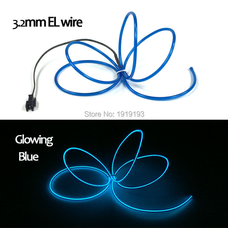 3.2mm 1Meter EL Wire Colorful Tube Rope Flexible LED Strip Neon Cold Light Clubs Party House Decoration+DC-3V Flashing driver