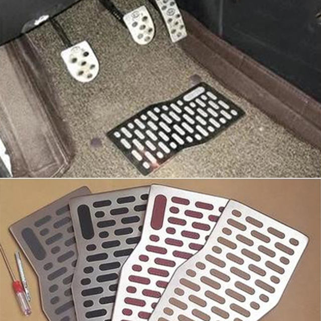 Car Floor Mat Carpet Auto Aluminum Pad Plate Pedal Foot Rest Mats Rugs For Ford F