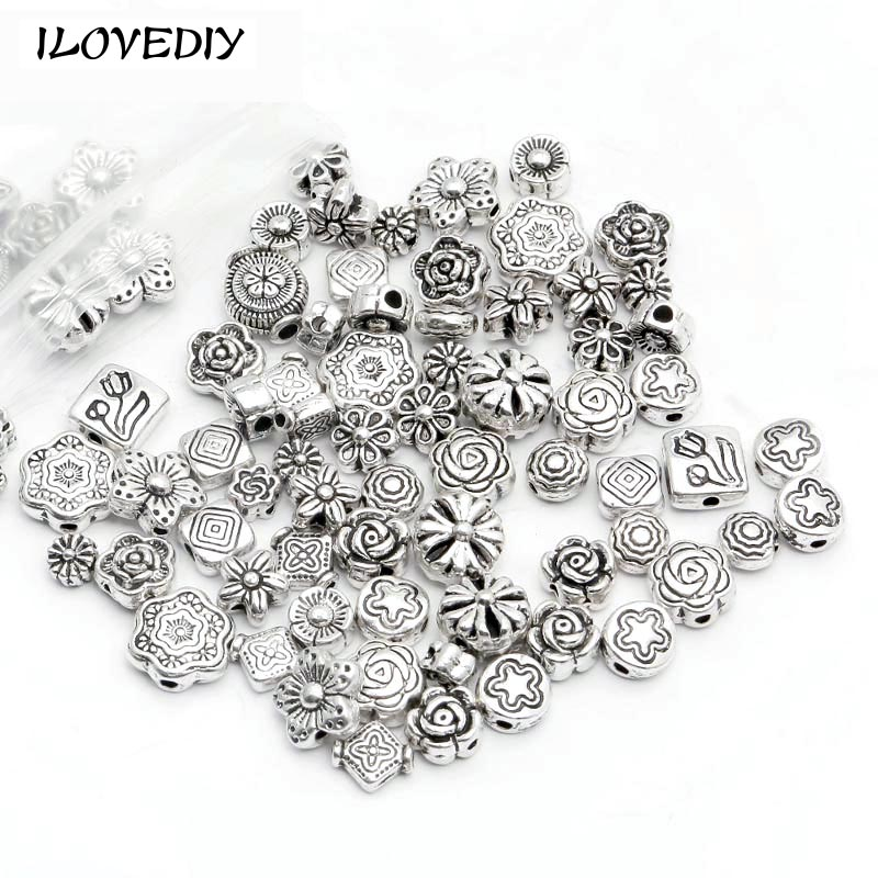 ILOVEDIY  (70-80 pcs) Mix Size Zinc Alloy Metal Silver Plated Flower Spacer Beads charm For DIY Jewelry Bracelet