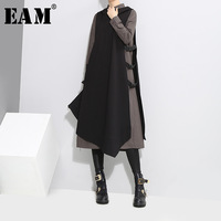 [EAM] 2019 Spring New Pattern Lapel Side Vent Vest Black Gray Long Sleeve Twinset Dress Women Fashion Tide YA94801