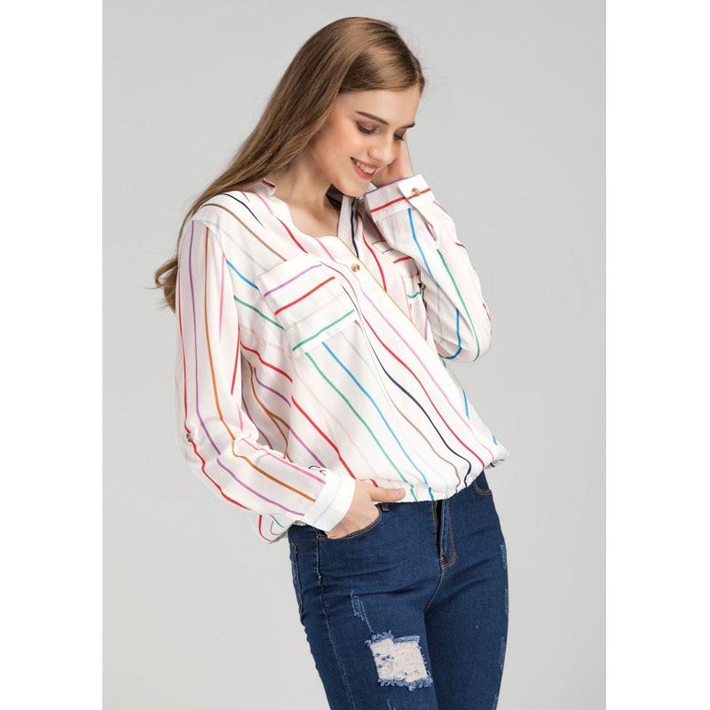 Calidad Primavera cuello Casual Blusa Moda Rayas Gasa Otoño Verano Color Top A Alta V Camisa Moonight Mujeres Larga Manga HaEIqwaP