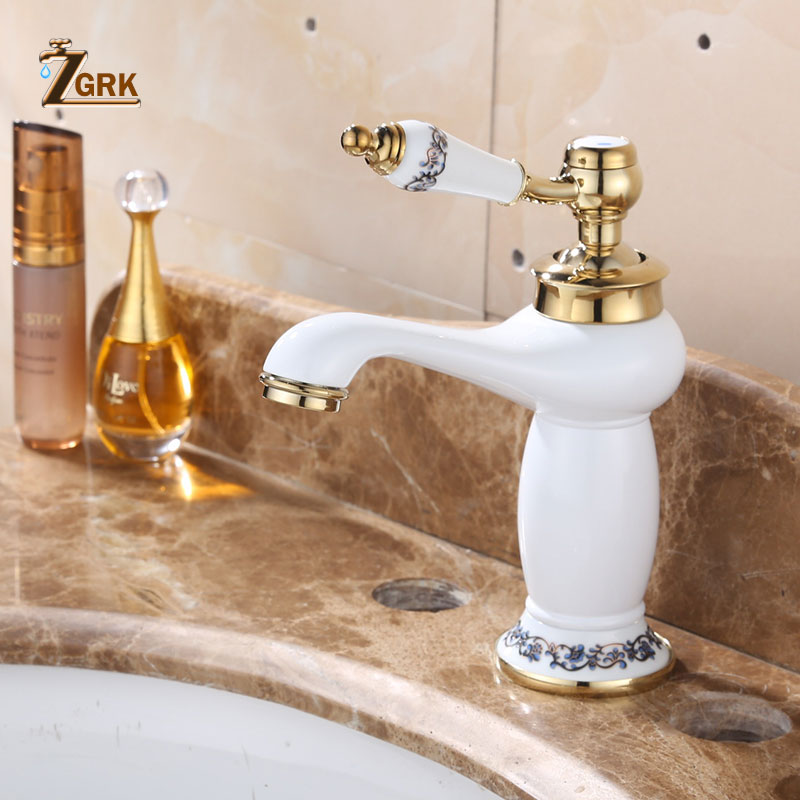 ZGRK Atacado E Varejo Deck Montado Único Punho Pia Do Banheiro Torneira Misturadora Quente e Fria tinta Branca Rosto Água Mixer tap