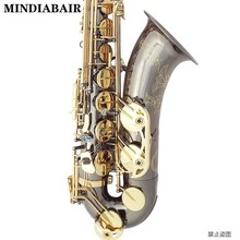 Латунный Bb тенор-саксофон резной узор жемчужно-белая оболочка кнопки духовой инструмент черный никель Золотой тенор саксофон