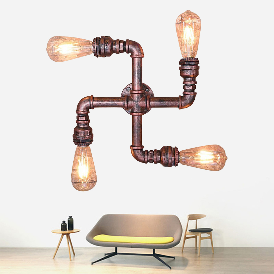 Personality Creative 4 heads windmill wall lamp Retro Industrial Wind decoration water pipe Wall Light for Hotel coffee shop