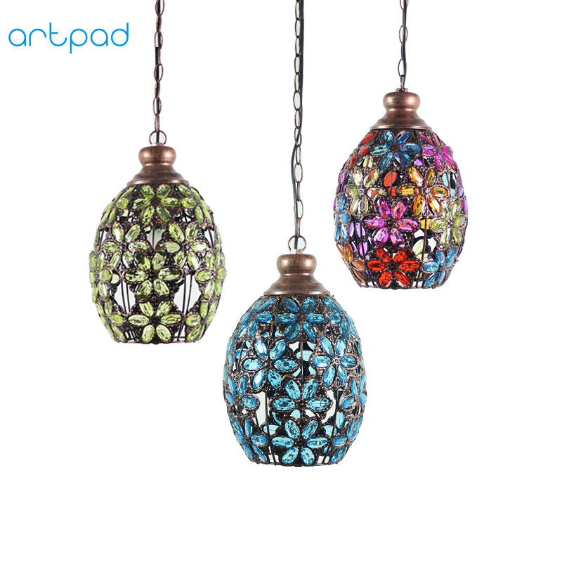 Artpad American Vintage Pendant Lamp Glass Lampshade Metal LED Nordic Bohemia Restaurant Pendant Lights For Hotel Living Room