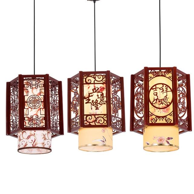 Lamps Chinese Small Chandelier Simple Wood Staircase Corridor Retro Imitation Sheepskin Bar Single Head Balcony