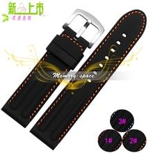 2015 nuevos impermeables suave venda de reloj de goma correa extremo recto pulsera de acero inoxidable hebilla 22 mm 24 mm envío gratis