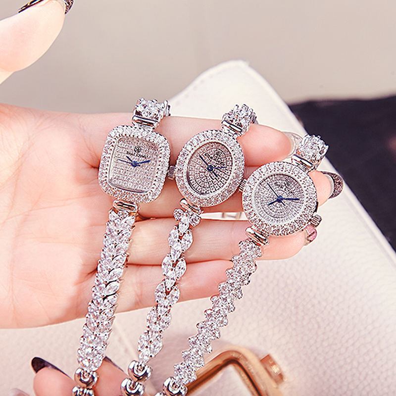 Full Crystal Women's Watch Japan Quartz Fashion Luxury Jewelry Hours Bracelet Rhinestone Girl's Birthday Gift Royal Crown Box