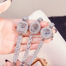 Full Crystal Women's Watch Japan Quartz Fashion Luxury Jewelry Hours Bracelet Rhinestone Girl's Birthday Gift Royal Crown Box