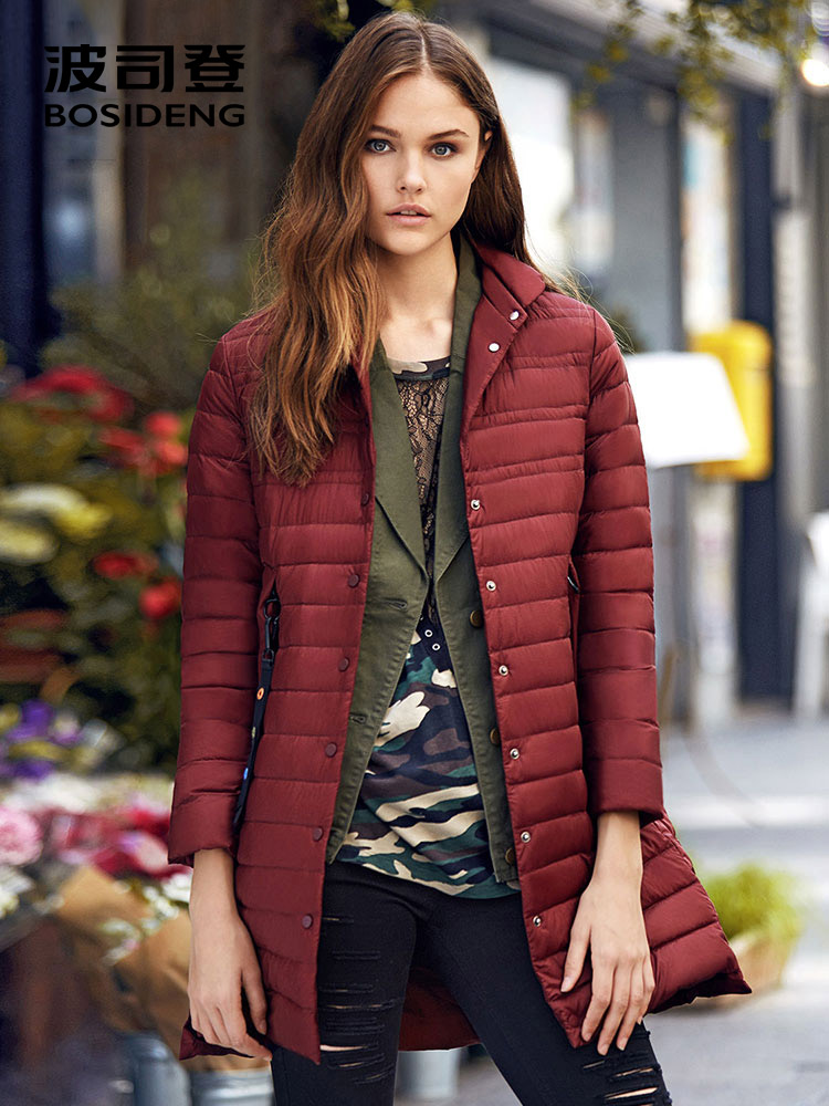 BOSIDENG winter duck   down   jacket for women   down     coat   mid-long outwear covered button light fabric 90   down   filling B70131108