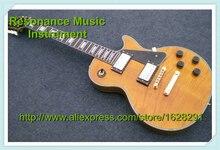 Top Qualität LP Flamed Maple E-gitarre Gelbe Farbe Schwarz Platte G Custom Gitarre auf lager
