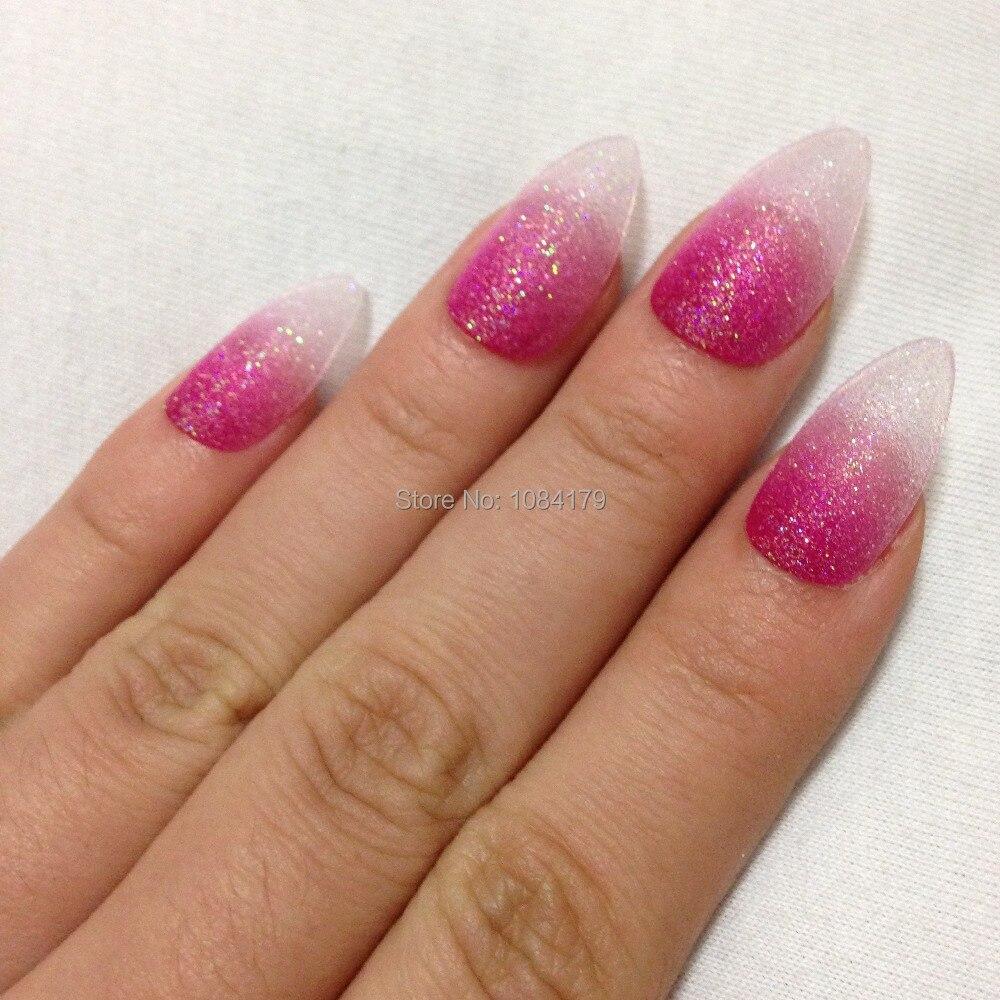 New Hot 24pcs Glitter Deep Pink Color Talon False Nail Art Tips ...