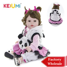 KEIUMI 20'' Cosplay Panda Girl Silicone Reborn Baby Doll Soft PP Cotton Body Dolls Reborn For Birthday Gifts DIY Kids Playmates(China)