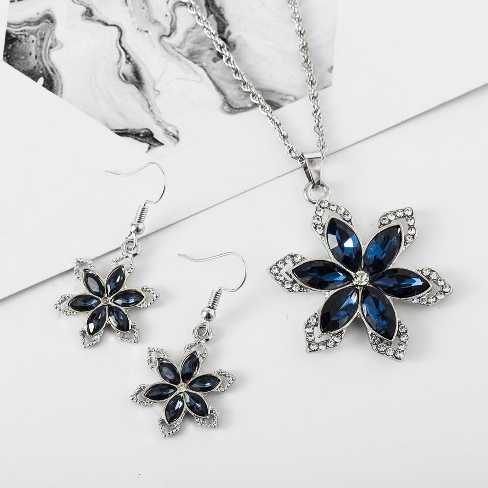 Geometric Pendant Necklace Women Navy Blue Snow Flower Drop Earrings Party Jewelry Set Evident Effect