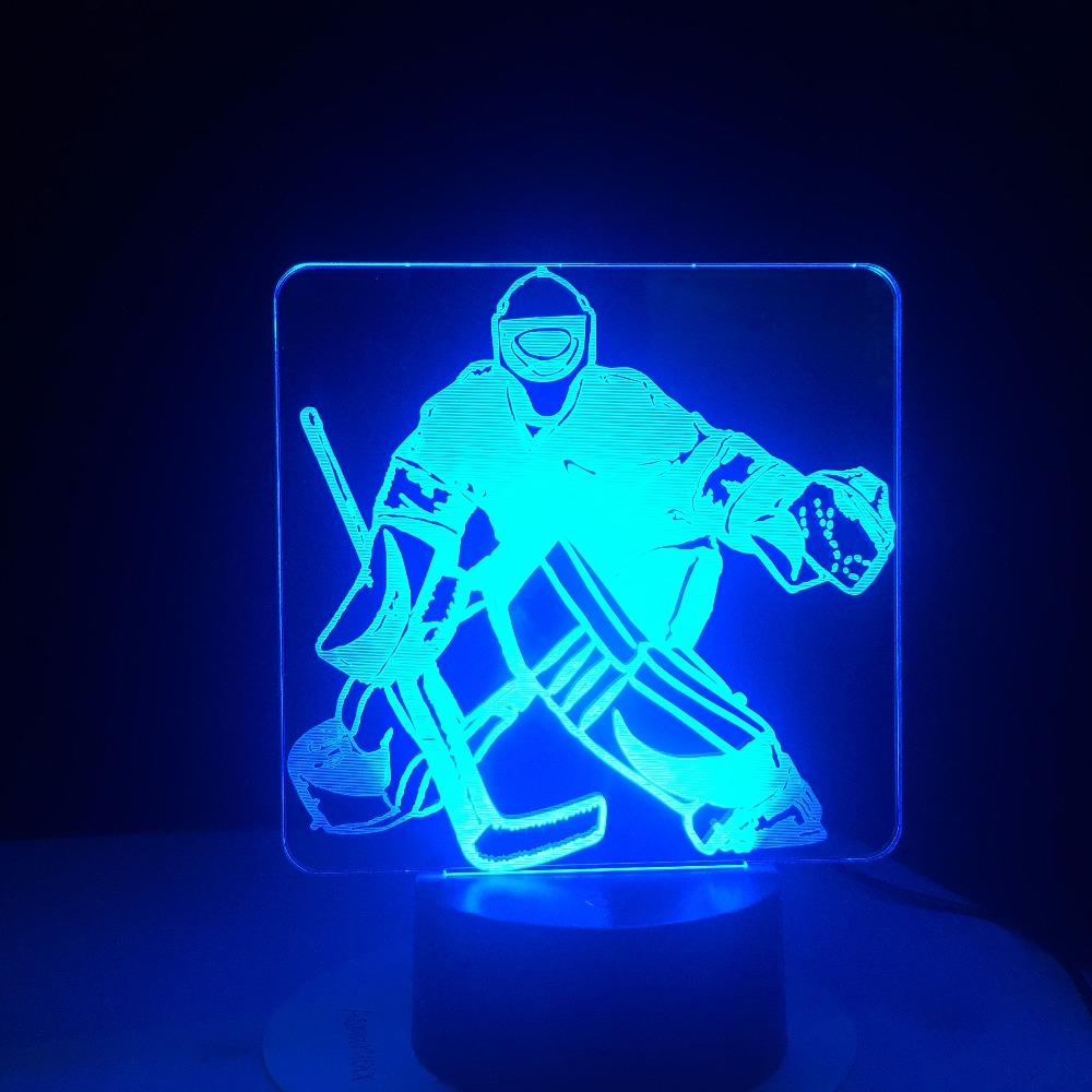 Ice Hockey Goalie 3D Modelling Table Lamp 7 Colors Change LED NightLight USB Bedroom Sleep Lighting Sports Fans Gifts Home Decor
