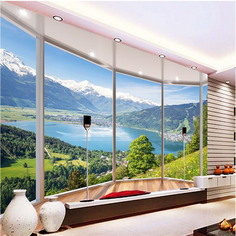 beibehang wallpaper balcony snow lake landscape background modern European mural living room big painting home decorat behang ...