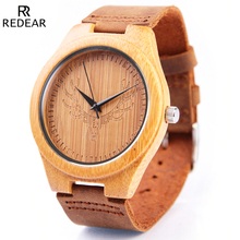 REDEAR Wood Watches Mens Top Brand Luxury Bamboo Wooden Watch Men Quartz Watches Full Grain Leather Wristwatch Relogio Masculino
