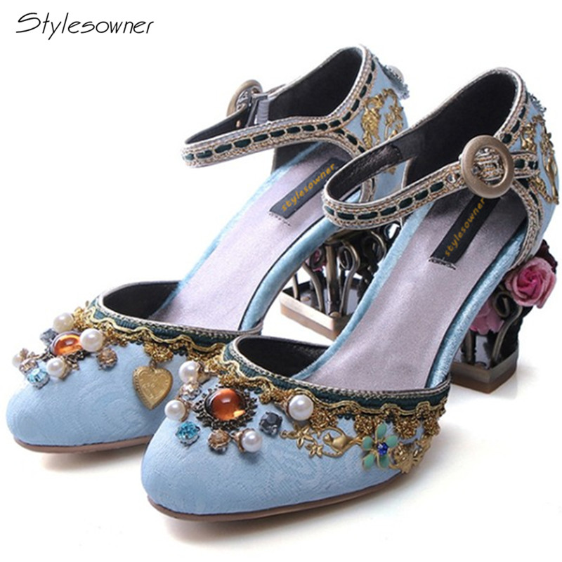 Stylesowner Top Quality High Heels Summer Sandals Strange Flower Bird Cage Metal Decoration Shoes Elegant Shling Pearl Chic Shoe