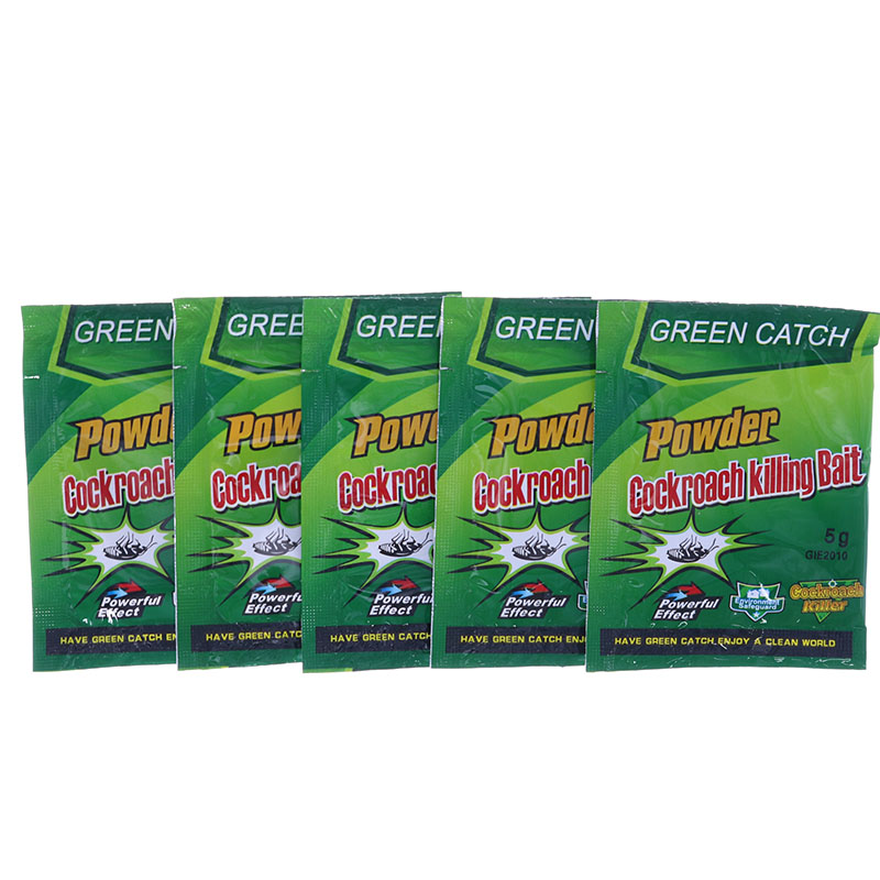 5pcs Green Leaf Powder Insecticide Bait Kill Bait Indoor Cricket Protection House Clean And Healthy Rodent Repellent