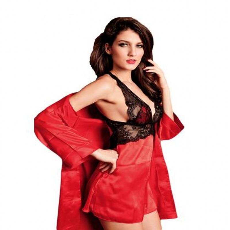 Sexy Lingerie Silk Satin Lace Robe Set Sleepwear Nightdress Dressing ... 62a440461