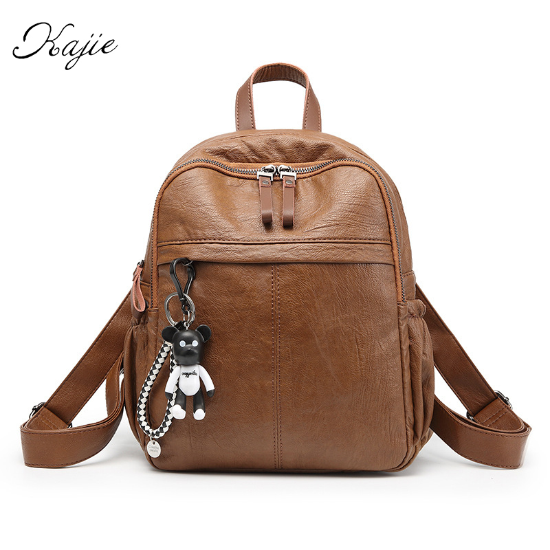 Kajie High Quality Women Backpack Leather Bags New Arrival Backpacks For Teenage Girls Fashion Bag Woman Back Pack Bolsa Mochila