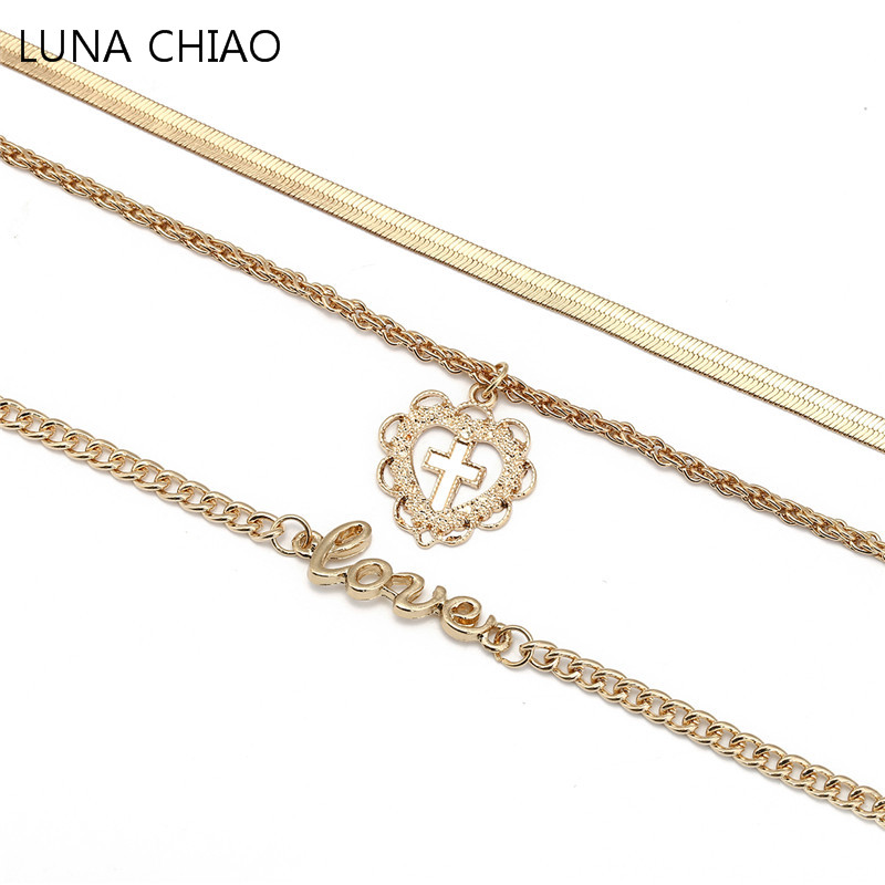 Luna Chiao Snake Link Popcorn Chain Zinc Alloy Heart Cross Love Word Pendant Multi Layered Necklace Gift For Women Girl 2018