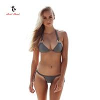 2017 Ariel Sarah Brand High Quality Bikini Mujer Pure Color Sexy Nylon Fabric Hand Woven Split