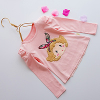 Children 's clothing spring and summer thin section baby cotton long - sleeved t - shirt cartoon soft fresh embroidery patch