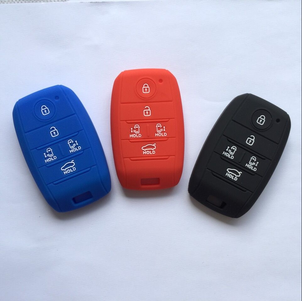 Navy Blue Silicone Key Cover Case Holder Chain Bag fit for Kia Smart 3 Buttons