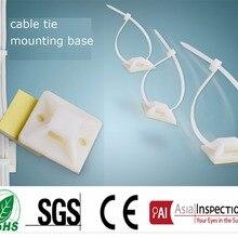 25*25 мм квадратных самоклеящиеся пластиковые кабельных стяжек белый нейлон zip галстук базы недавно выпустила провода bundle держатель