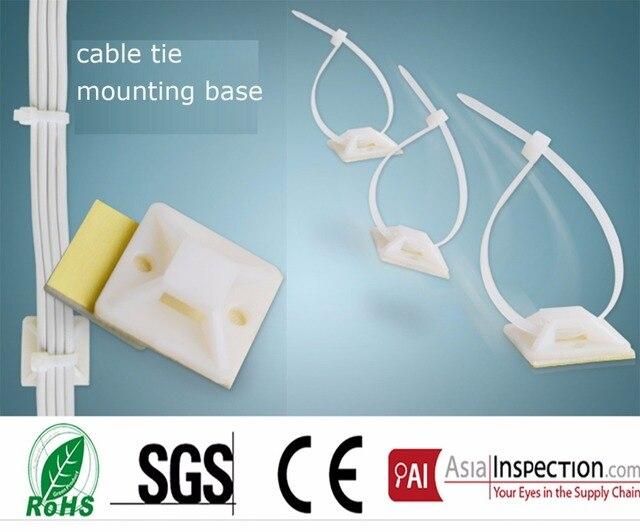 dd7334163ab1 25*25mm Square Self-adhesive plastic cable tie mounts white nylon zip tie  base