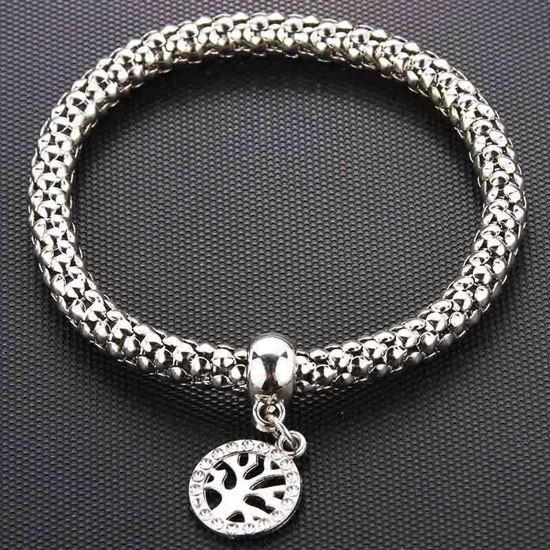 Silver New Crystal Zircon Tree of Life Corn Chain Bracelet Stretch Stretch Fine Bracelet Ladies Fashion Charm Jewelry Gift