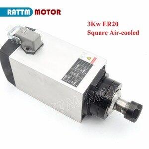 Image 3 - 【DE Free VAT】 Square 3KW ER20 Air Cooled Spindle Motor 4 Bearings & 3kw VFD Inverter Drive 220V & 1 set ER20 Collet CNC Router