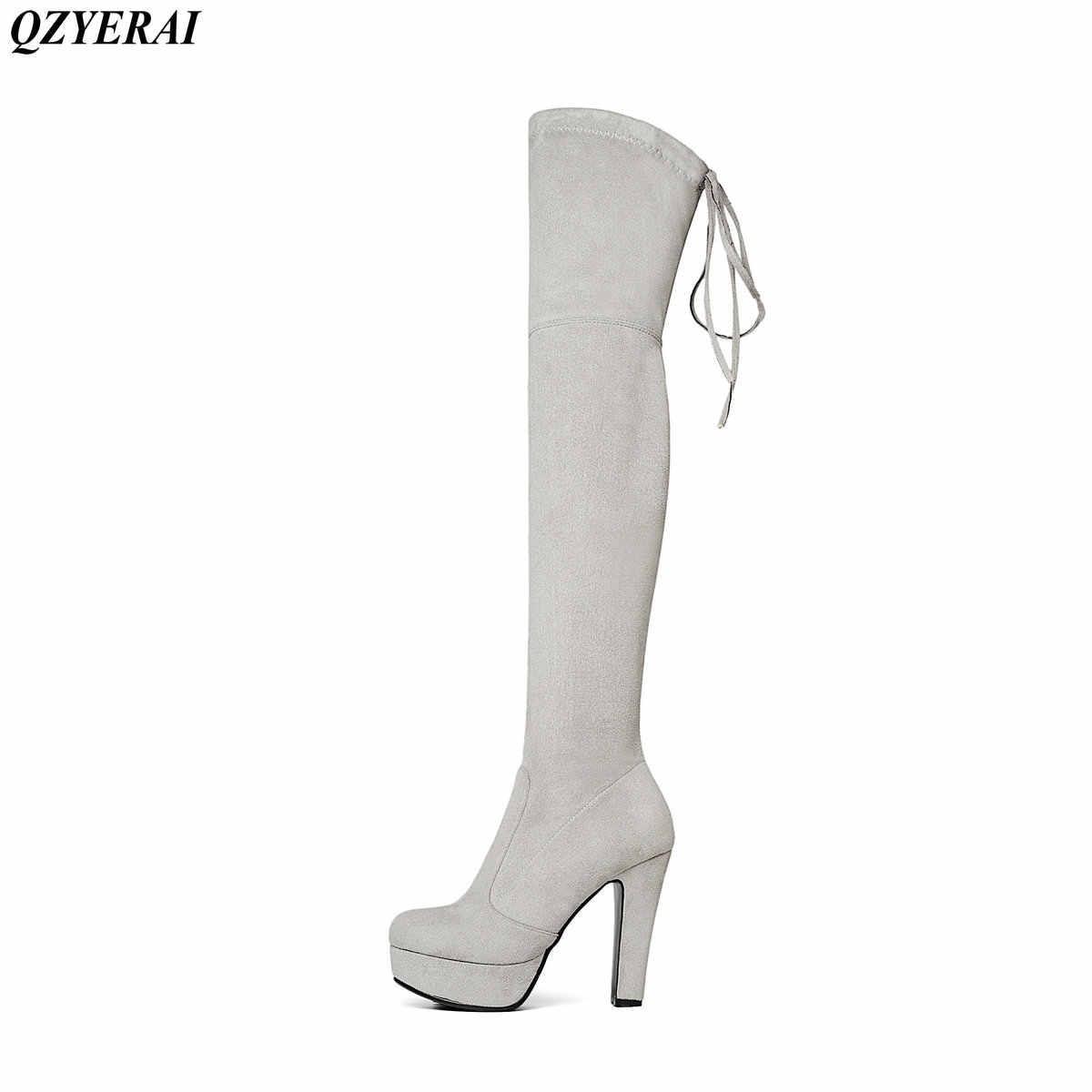 Top Faux daim femmes cuissardes bottes Stretch Slim Sexy mode sur le genou bottes femme chaussures talons hauts noir