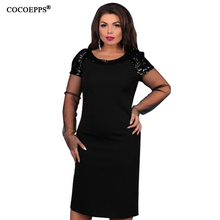 5XL 6XL 2019 Spring Sequined Plus Size Women Dress Summer Sexy Mesh Big Large Si