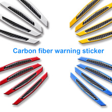 4pcs/lot Car styling Door Anti Collision Sticker carbon fiber Warning Signs Highlight Reflective Tape  Auto Accessories