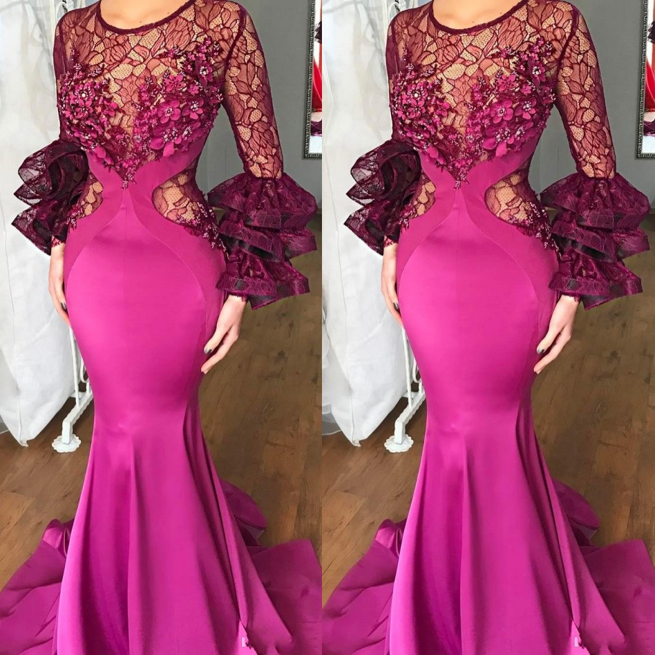 <font><b>Fuchsia</b></font> Evening <font><b>Dresses</b></font> Ruffles Sleeves Robe De Soiree Custom Made Evening <font><b>Dress</b></font> Mermaid Vestido De Festa Longo Abiye Lace