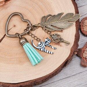 Doreen Box Antique Bronze Key Chains&Key Rings vintage feather heart Key Pendant Stripe Cat Tassel Pendants Mint Green Keychain(China)