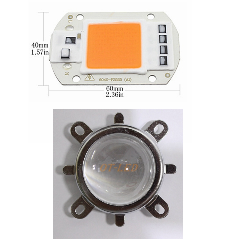 2Sets Hydroponice AC 220V 50w led grow chip full spectrum 380nm-840nm+44mm 60degree lens for indoor led grow light