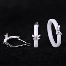 Blucome African Jewelry Sets Earrings&rings White Ceramic Small Butterfly Anels Copper Aretes Bridal Ensemble de Bijoux Femme
