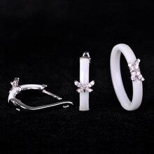 Blucome Наборы свадебных ювелирных изделий Серьги Кольца Белый Керамика маленькая бабочка anels Медь Aretes Свадебный ансамбль Bijoux de Femme