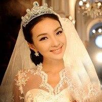 Ослепительно принцесса голову Потрясающие Кристалл Свадебное диадемы Для женщин Обувь для девочек со стразами Головные уборы ободок для в...