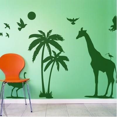 Muursticker Giraffe Kinderkamer.Afrikaanse Animal Vinyl Muursticker Giraffe Vogels Kokospalm