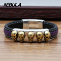 Personality Vintage Punk Skull Evil Eye Leather 925 sterling silver bracelet Inlaid copper bangle for men or women fine jewelry